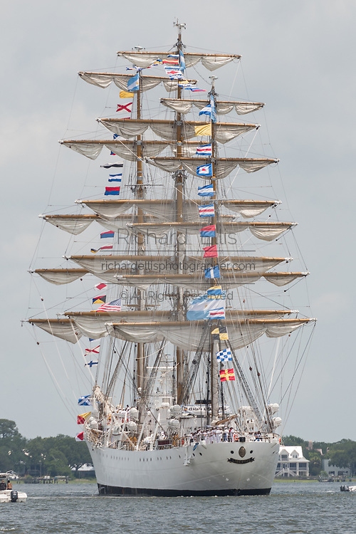 The steel hulled, full rigged, Argentine Navy Fragata ARA Libertad during the parade of sails kicking off the Tall Ships Charleston festival May 18, 2017 in Charleston, South Carolina. The festival of tall sailing ships from around the world will spend three-days visiting historic Charleston.