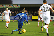 AFC Wimbledon defender George Francomb (7) dribbling into the box during the EFL Sky Bet League 1 match between AFC Wimbledon and Blackpool at the Cherry Red Records Stadium, Kingston, England on 20 January 2018. Photo by Matthew Redman.