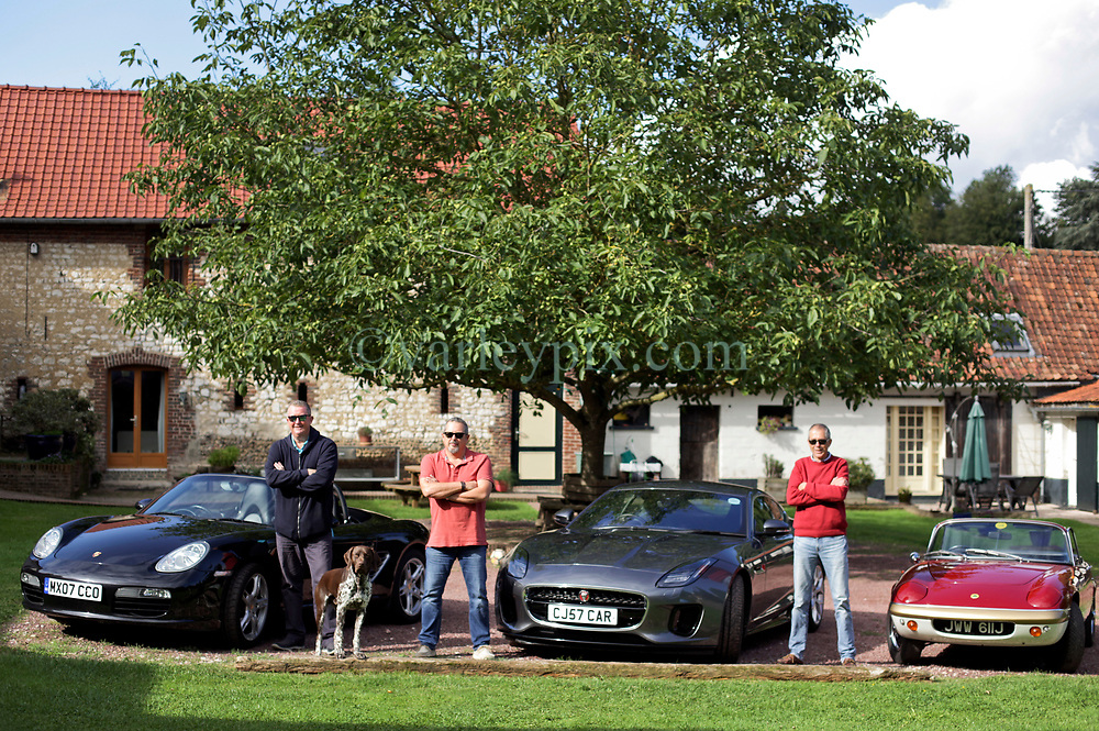 05 Sept 2019. St Denoeux, Pas de Calais, France.<br /> Messing about with cars. With Rob, Chris and Simon with their cars, the Porsche Boxter, Jaguar F Type and Lotus Elan Sprint at Festina Lente Gîtes.<br /> Photo©; Charlie Varley/varleypix.com