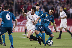 May 9, 2018 - Seville, Spain - CASEMIRO of Real Madrid (R ) vies for the ball with FRANCO VAZQUEZ of Sevilla (L ) during the La Liga soccer match between Sevilla FC and Real Madrid at Sanchez Pizjuan Stadium (Credit Image: © Daniel Gonzalez Acuna via ZUMA Wire)