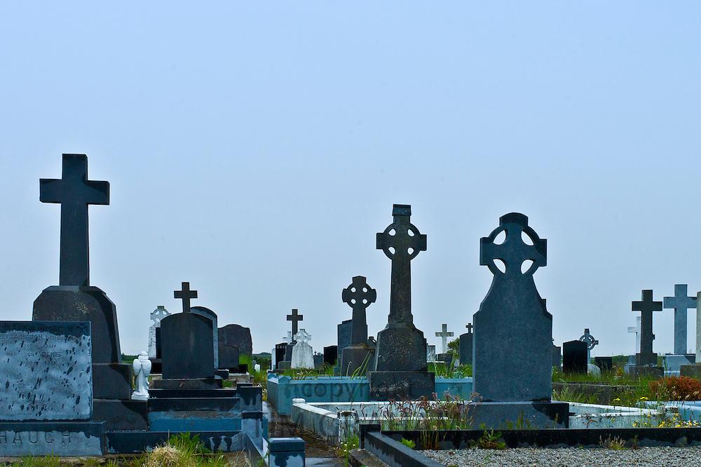 Graves at Lisdeen christian graveyard near Kilkee, County Clare, West of Ireland