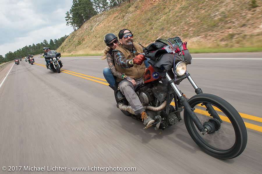 Missy and Darren McKeag on the Aidan's Ride to raise money for the Aiden Jack Seeger nonprofit foundation to help raise awareness and find a cure for ALD (Adrenoleukodystrophy) during the annual Sturgis Black Hills Motorcycle Rally. Riding between Nemo and Rapid City, SD, USA. Tuesday August 8, 2017. Photography ©2017 Michael Lichter.