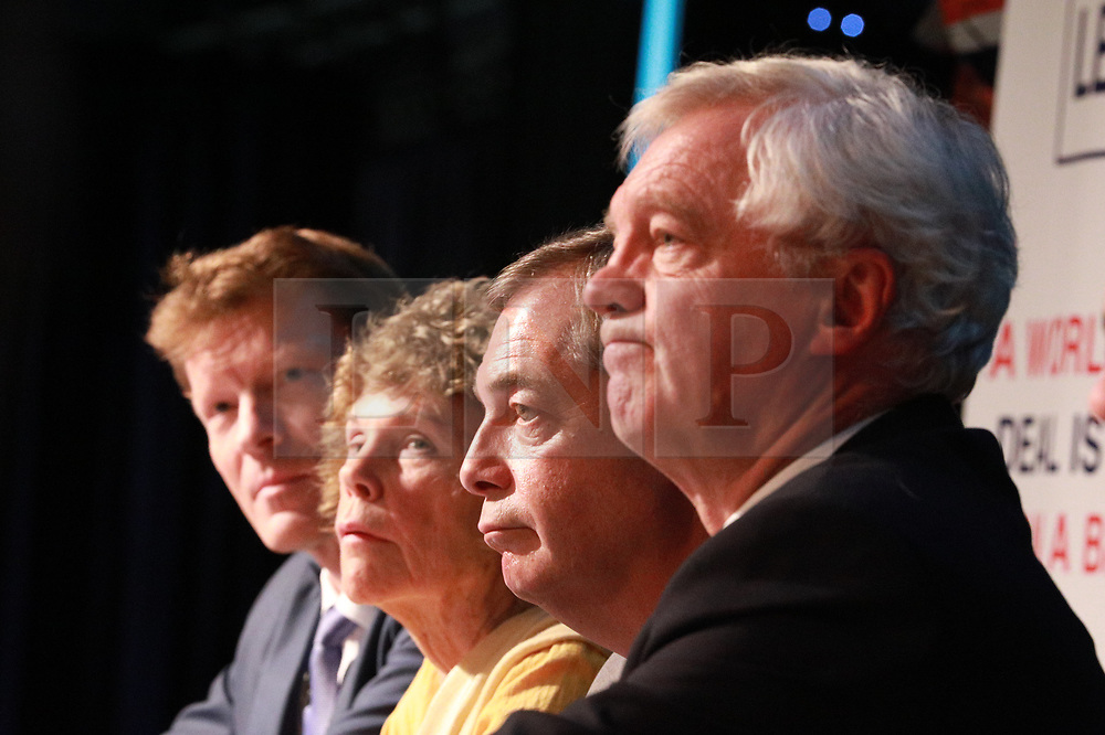 """© Licensed to London News Pictures . 22/09/2018. Bolton, UK. RICHARD TICE, KATE HOEY, NIGEL FARAGE and DAVID DAVIS . Pro Brexit campaign group Leave Means Leave host a """" Save Brexit """" and """" Chuck Chequers """" rally at the University of Bolton Stadium , attended by leave-supporting politicians from a cross section of parties , including Conservative David Davis , former UKIP leader Nigel Farage and Labour's Kate Hoey . Photo credit: Joel Goodman/LNP"""