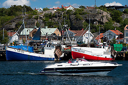 Harbour at town of Stromstad on west bohusan coast in Sweden