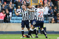 Joe Martin of Millwall (c) )celebrates with Ben Thompson of Millwall and Aiden O'Brien of Millwall after scoring his sides 1st goal to make it 1-1. EFL Skybet football league one match, Millwall v Bradford city at The Den in London on Saturday 3rd September 2016.<br /> pic by John Patrick Fletcher, Andrew Orchard sports photography.