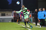 Forest Green Rovers Shamir Mullings(18) controls the ball during the Vanarama National League first leg play off match between Dagenham and Redbridge and Forest Green Rovers at the London Borough of Barking and Dagenham Stadium, London, England on 4 May 2017. Photo by Shane Healey.