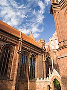 Low-angle view of St. Anne's Church (Šv. Onos bažnyčia) in Vilnius, Lithuania.