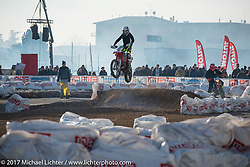 Off road motorcycle track at Motor Bike Expo. Verona, Italy. Sunday January 22, 2017. Photography ©2017 Michael Lichter.