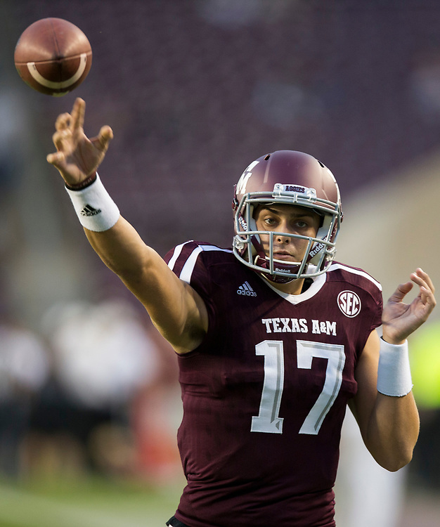 Texas A&M quarterback Nick Starkel (17) throws a ball during warmups before the start of an NCAA college football game against New Mexico on Saturday, Nov. 11, 2017, in College Station, Texas. (AP Photo/Sam Craft)