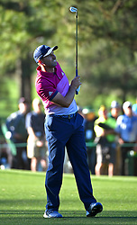 April 8, 2017 - Augusta, GA, USA - Sergio Garcia watches his second shot from the 17th fairway during the third round of the Masters Tournament at Augusta National Golf Club in Augusta, Ga., on Saturday, April 8, 2017. Garcia finished the round tied for first with Justin Rose at 6-under. (Credit Image: © Jeff Siner/TNS via ZUMA Wire)