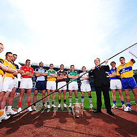 6 May 2008; GAA President Nickey Brennan with  Intercounty players left to right, Rory Jacob, Wexford, Sean Delargy, Antrim, John Lee, Galway, John Gardiner, Cork, Stephen Hiney, Dublin, Kevin Brady, Offaly, Brendan Murtagh, Westmeath, John Lee, Galway, Mark Foley, Limerick, Niall Holman, Laois, Paul Ormond, Tipperary and Brian O'Connell, Clare at the GAA Hurling All-Ireland Senior Championship launch. Croke Park, Dublin. Picture credit: David Maher / SPORTSFILE  *** Local Caption ***