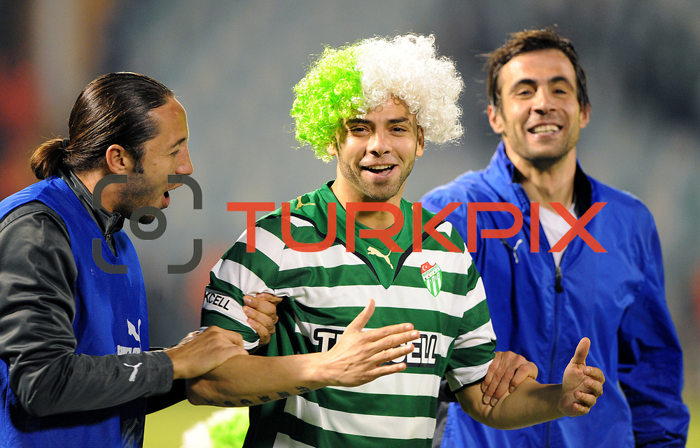 Bursaspor's players celebrate victory during their Turkish soccer super league match Bursaspor between Kayserispor at Ataturk Stadium in Bursa Turkey on Saturday, 01 May 2010. Photo by TURKPIX