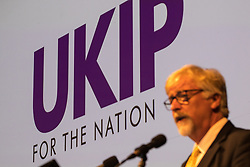 "© Licensed to London News Pictures . 29/09/2017 . Torquay , UK . Interim leader STEVE CROWTHER unveils the party's new logo and tagline "" UKIP for the nation "" . The UK Independence Party Conference at the Riviera International Centre . UKIP is due to announce the winner of a leadership election which has the potential to split the party . Photo credit: Joel Goodman/LNP"