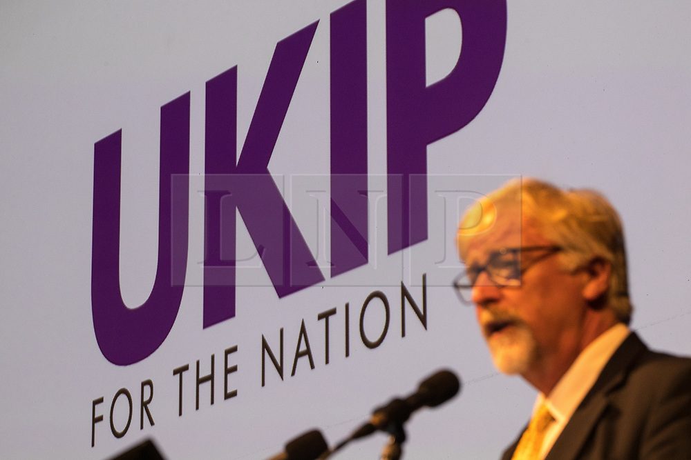 """© Licensed to London News Pictures . 29/09/2017 . Torquay , UK . Interim leader STEVE CROWTHER unveils the party's new logo and tagline """" UKIP for the nation """" . The UK Independence Party Conference at the Riviera International Centre . UKIP is due to announce the winner of a leadership election which has the potential to split the party . Photo credit: Joel Goodman/LNP"""