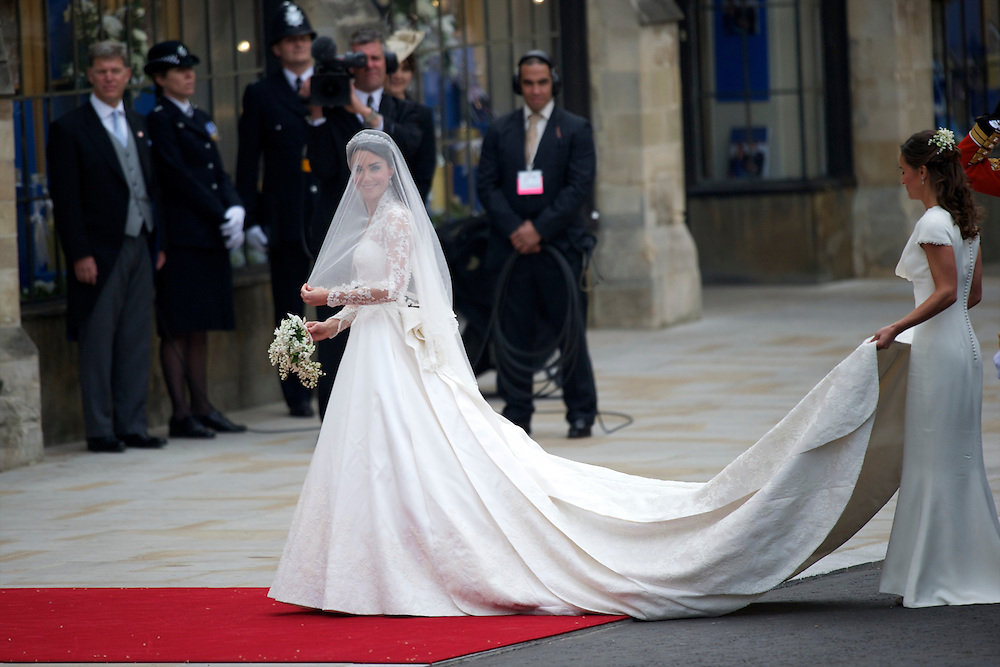 Kate Middleton arrives at Westminster Abbey for her wedding to Prince William.  Over 1900 guests were expected to attend.