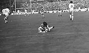 The Cork goalie saves the ball during the start of the All Ireland Senior Gaelic Football Championship Final Cork v Galway in Croke Park on the 23rd September 1973. Cork 3-17 Galway 2-13.