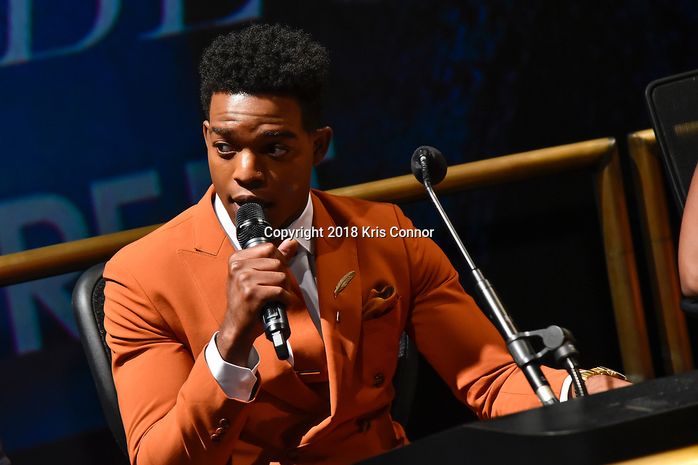 """WASHINGTON, DC - OCTOBER 27: Actor Stephan James speaks during a Q&A during the closing night screening of """"IF BEALE STREET COULD TALK"""" at the inaugural Smithsonian African American Film Festival 2018 at National Air and Space Museum in Washington DC on October 27th, 2018. (Photo by Kris Connor/Annapurna Pictures)"""