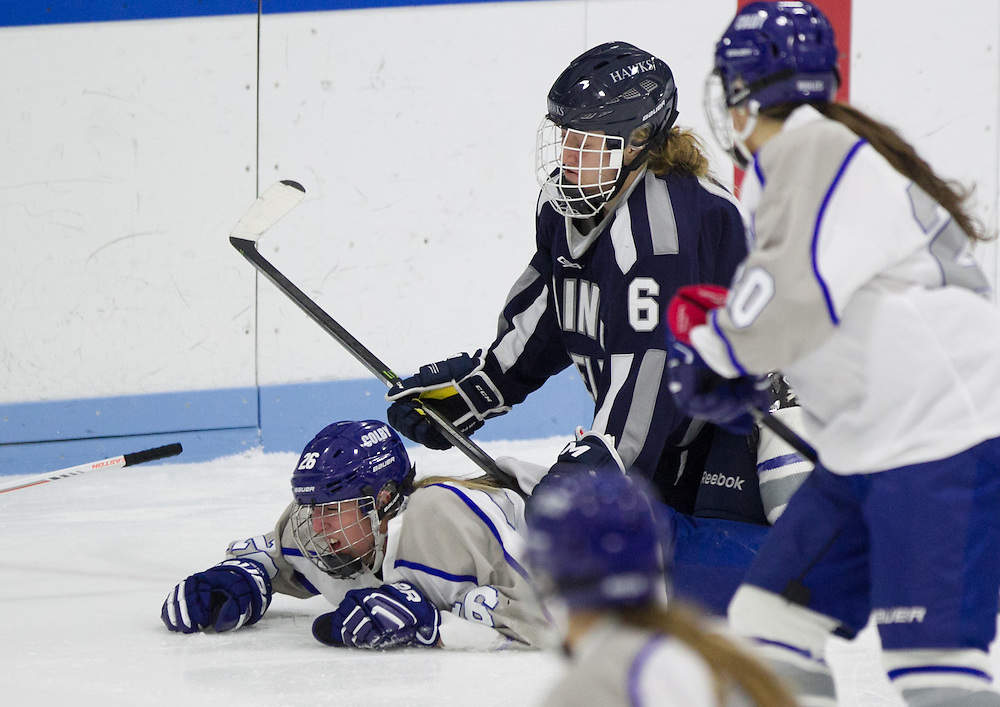 Megan Fortier, of Colby College, in a NCAA Division III hockey game against Saint Anselm College on December 5, 2014 in Waterville, ME. (Dustin Satloff/Colby College Athletics)
