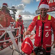 Leg 3, Cape Town to Melbourne, day 15, Sophie Ciszek, Blair Tuke and Pablo Arrarteon board MAPFRE. Photo by Jen Edney/Volvo Ocean Race. 24 December, 2017.