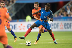 PARIS, Sept. 1, 2017  Paul Pogba (R) of France vies with Kevin Strootman of Netherlands during the 2018 World Cup European Qualifier at Stades de France in Paris, France on Aug. 31, 2017. France won 4-0. (Credit Image: © Jack Chan/Chine Nouvelle/Xinhua via ZUMA Wire)