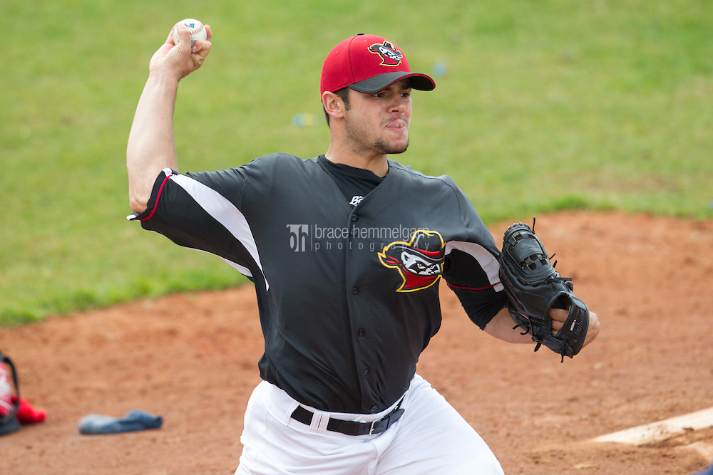 Quad Cities River Bandits pitcher Lance McCullers #23 pitches in the bullpen prior to a game against the Great Lakes Loons at Modern Woodmen Park on April 29, 2013 in Davenport, Iowa. (Brace Hemmelgarn)