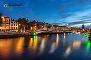 Historic Ha'Penny walking bridge over the River Liffey in Dublin, Ireland