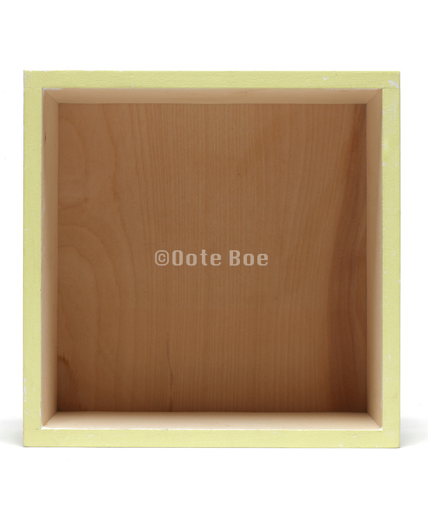 outside yellow painted wooden container square box