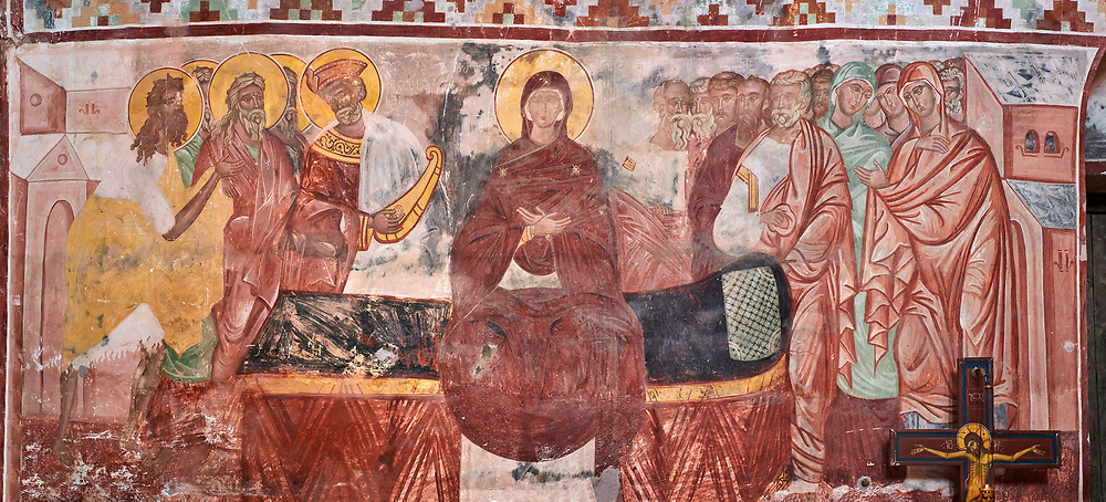 Pictures & images of the Byzantine fresco panels in the Gelati Georgian Orthodox Church of the Virgin, 1106, depicting a scene from the Assumption of the Virgin Mary, Mother of God, into Heaven .  The medieval Gelati monastic complex near Kutaisi in the Imereti region of western Georgia (country). A UNESCO World Heritage Site. .<br /> <br /> Visit our MEDIEVAL PHOTO COLLECTIONS for more   photos  to download or buy as prints https://funkystock.photoshelter.com/gallery-collection/Medieval-Middle-Ages-Historic-Places-Arcaeological-Sites-Pictures-Images-of/C0000B5ZA54_WD0s<br /> <br /> Visit our REPUBLIC of GEORGIA HISTORIC PLACES PHOTO COLLECTIONS for more photos to browse, download or buy as wall art prints https://funkystock.photoshelter.com/gallery-collection/Pictures-Images-of-Georgia-Country-Historic-Landmark-Places-Museum-Antiquities/C0000c1oD9eVkh9c