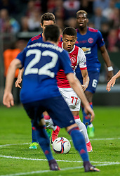 24-05-2017 SWE: Final Europa League AFC Ajax - Manchester United, Stockholm<br /> Finale Europa League tussen Ajax en Manchester United in het Friends Arena te Stockholm / Matteo Darmian #20 of Manchester United, David Neres #77 of Ajax, Ander Herrera #20 of Manchester United
