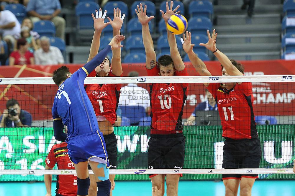 07.09.2014, Krakow Arena, Krakau, POL, FIVB WM, Frankreich vs Belgien, Gruppe D, im Bild KEVIN TILLIE, BRAM VAN DEN DRIES, SIMON VAN DE VOORDE, MATTHIJS VERHANNEMAN // during the FIVB Volleyball Men's World Championships Pool D Match beween France and Belgium at the Krakow Arena in Krakau, Poland on 2014/09/07. <br /> <br /> <br /> ***NETHERLANDS ONLY***