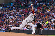 Clay Buchholz #11 of the Boston Red Sox pitches against the Minnesota Twins on May 17, 2013 at Target Field in Minneapolis, Minnesota.  The Red Sox defeated the Twins 3 to 2.  Photo: Ben Krause