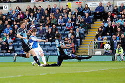 Bristol Rovers' Fabian Broghammer takes a shot at goal. - Photo mandatory by-line: Dougie Allward/JMP - Mobile: 07966 386802 26/04/2014 - SPORT - FOOTBALL - High Wycombe - Adams Park - Wycombe Wanderers v Bristol Rovers - Sky Bet League Two