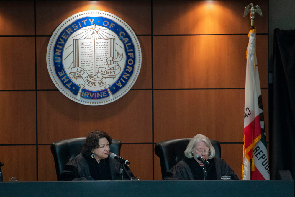 Associate justice of the Supreme Court of the United States Sonia Sotomayor and Senior United States Circuit Judge of the United States Court of Appeals for the Sixth Circuit Martha Daughtrey listen as UCI Law school students make their presentations in the UC Irvine School of Law's fourth annual Experian/Jones Day Moot Court Competition.