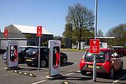 Tesla electric recharging station on M56 motorway service station, 21st April 2021 near Blackpool, Lancashire, United Kingdom.
