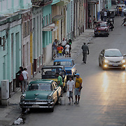 Looking down onto the streets of Old Havana, Cuba.