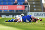 Chesterfield defender Sid Nelson (35) injured during the EFL Sky Bet League 2 match between Chesterfield and Notts County at the b2net stadium, Chesterfield, England on 25 March 2018. Picture by Jon Hobley.