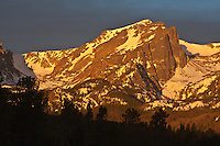 12,713 ft. Hallett Peak along the Continental Divide at sunrise.  Rocky Mountain National Park, Colorado.