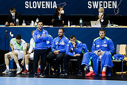 Ljubomir Vranjes, head coach of Slovenia, Uros Zorman, assistant coach of Slovenia and Uros Mohoric of Slovenia during handball match between National Teams of Germany and Slovenia at Day 2 of IHF Men's Tokyo Olympic  Qualification tournament, on March 13, 2021 in Max-Schmeling-Halle, Berlin, Germany. Photo by Vid Ponikvar / Sportida