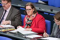 14 FEB 2019, BERLIN/GERMANY:<br /> Kerstin Griese, MdB, SPD, Parl. Staatssekretaerin im Bundesarbeitsministerium, Bundestagsdebatte, Plenum, Deutscher Bundestag<br /> IMAGE: 20190214-01-077<br /> KEYWORDS: Bundestag, Debatte