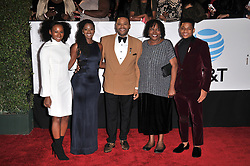 (L-R) Kyra Anderson, Alvina Stewart, host Anthony Anderson, Doris Hancox, and Nathan Anderson at The 49th NAACP Image Awards held at the Pasadena Civic Auditorium on January 15, 2018 in Pasadena, CA, USA (Photo by Sthanlee B. Mirador/Sipa USA)