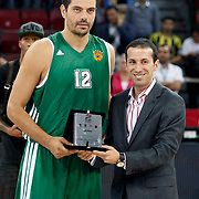 Panathinaikos's Konstantinos TSARTSARIS (L) during their Two Nations Cup basketball match Fenerbahce Ulker between Panathinaikos at Abdi Ipekci Arena in Istanbul Turkey on Sunday 02 October 2011. Photo by TURKPIX
