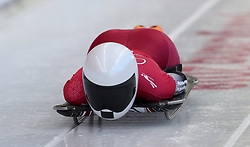 Latvia's Lelde Priedulena during the Women's Skeleton practice on day three of the PyeongChang 2018 Winter Olympic Games in South Korea. PRESS ASSOCIATION Photo. Picture date: Monday February 12, 2018. See PA story OLYMPICS Skeleton. Photo credit should read: David Davies/PA Wire. RESTRICTIONS: Editorial use only. No commercial use.
