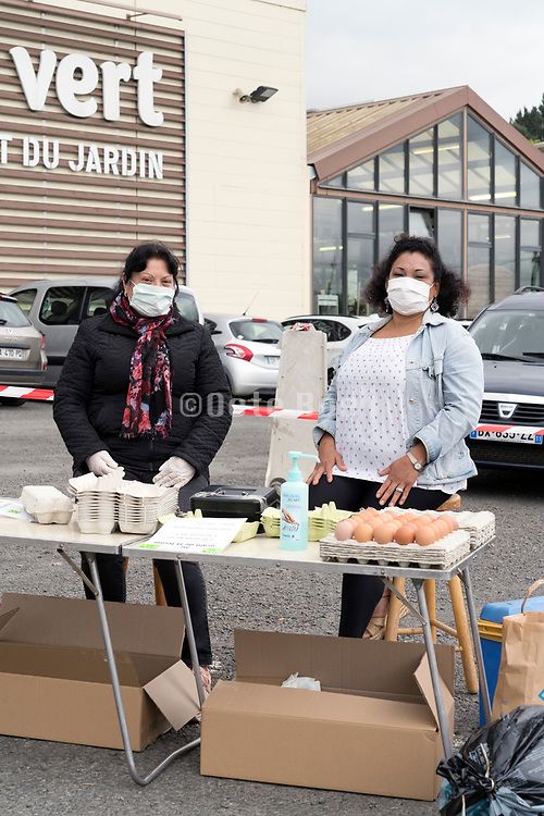 outdoors famers market egg stand during Covid 19 crisis France Limoux April 2020