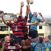Players challenge for the ball in a line out  during the Wakatipu V Arrowtown Rugby Match at Queenstown Recreation Ground,  Queenstown, South Island, New Zealand, 11th June 2011