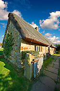 Stage End, Danby, medieval thatched Long House ( 1500's ) , Ryedale Folk Museum, Hutton Le Hole, North Yorks Moors National Park, Yorkshire, England