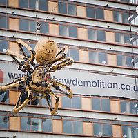 On Wednesday 3rd September 2008 Liverpool awoke to find a giant spider hanging from the side of a building. The building, Concourse House, is situated next to the main train station in Liverpool so everyone coming into work that day certainly got a surprise.