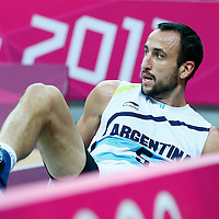06 August 2012: Argentina Manu Ginobili is seen down on the court during 126-97 Team USA victory over Team Argentina, during the men's basketball preliminary, at the Basketball Arena, in London, Great Britain.