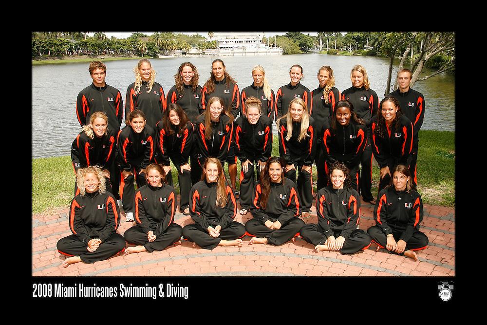 2008 Miami Hurricanes Swimming & Diving Team Photo