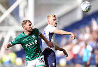 Sheffield Wednesday's Tom Lees vies for possession with Preston North End's Jayden Stockley<br /> <br /> Photographer Rich Linley/CameraSport<br /> <br /> The EFL Championship - Preston North End v Sheffield Wednesday - Saturday August 24th 2019 - Deepdale Stadium - Preston<br /> <br /> World Copyright © 2019 CameraSport. All rights reserved. 43 Linden Ave. Countesthorpe. Leicester. England. LE8 5PG - Tel: +44 (0) 116 277 4147 - admin@camerasport.com - www.camerasport.com