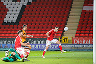 Charlton Athletic defender Ben Purrington (3) attempts to head the ball in an empty net but is unable to reach it during the EFL Sky Bet Championship match between Charlton Athletic and Hull City at The Valley, London, England on 13 December 2019.